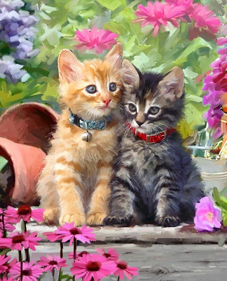 Kittens in the Flower Garden by Four Seasons for David Textiles