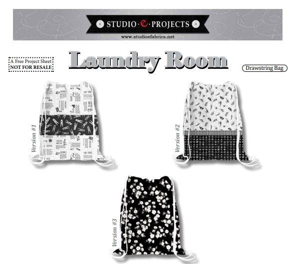 Laundry Room Drawstring Bags - FREE Pattern by Studioe