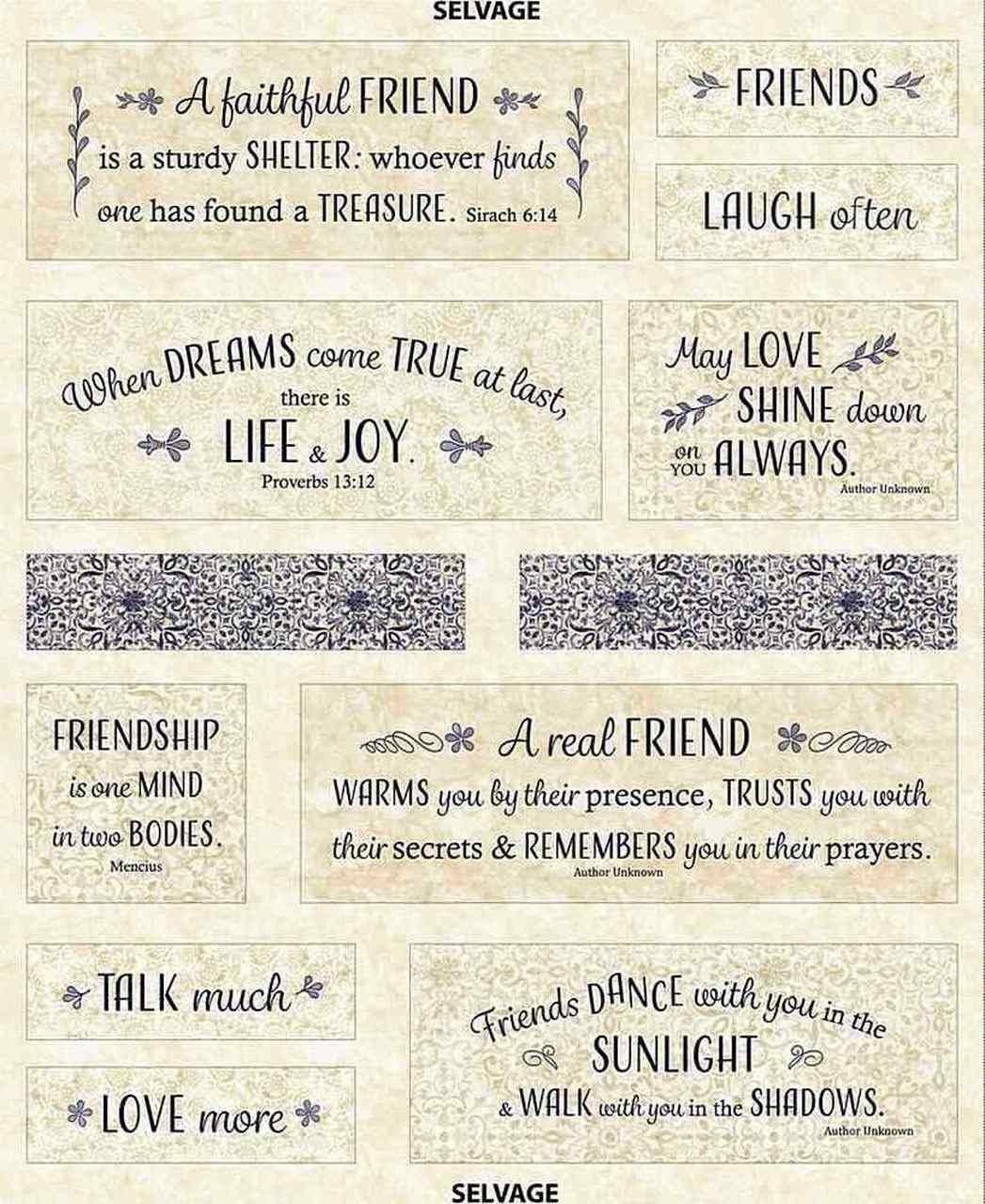 Life and Joy Friends panel by Wing and a Prayer Designs for Timeless Treasures