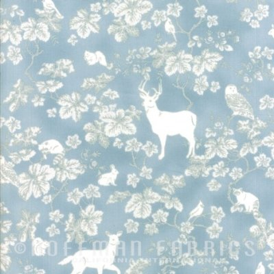 Woodland Animal Toss with Silver Metallic Accents on Blue:  Snowy Peak by Hoffman