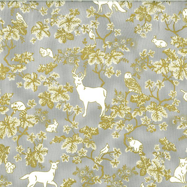 Woodland Animal Toss with Gold Metallic Accents on Taupe:  Snowy Peak by Hoffman