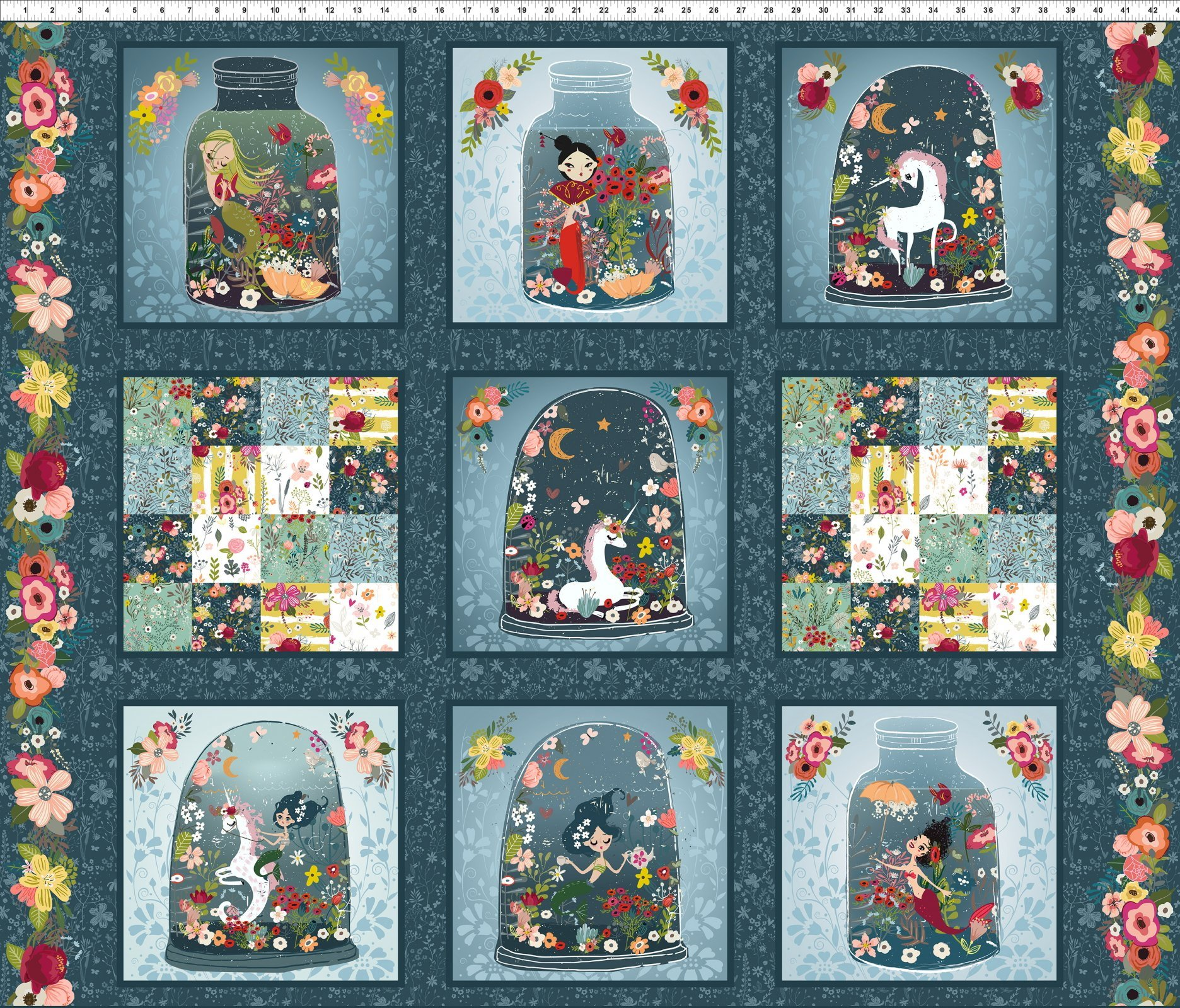 Mermaids and Unicorns Quilt Panel by In the Beginning Fabrics