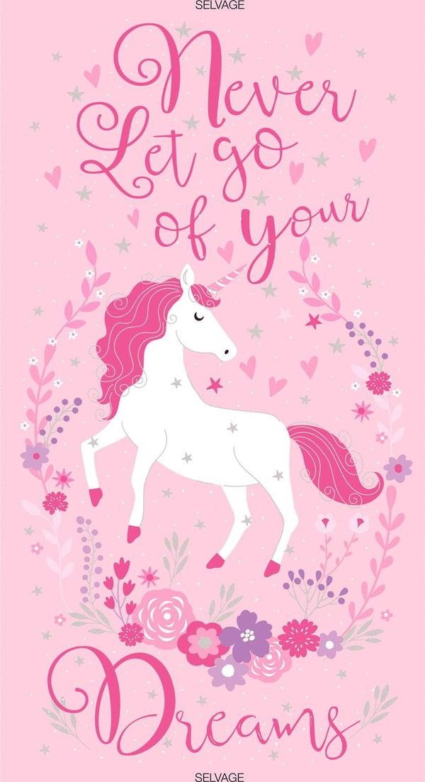 Never Let Go of Your Dreams - Unicorn Panel by Timeless Treasures