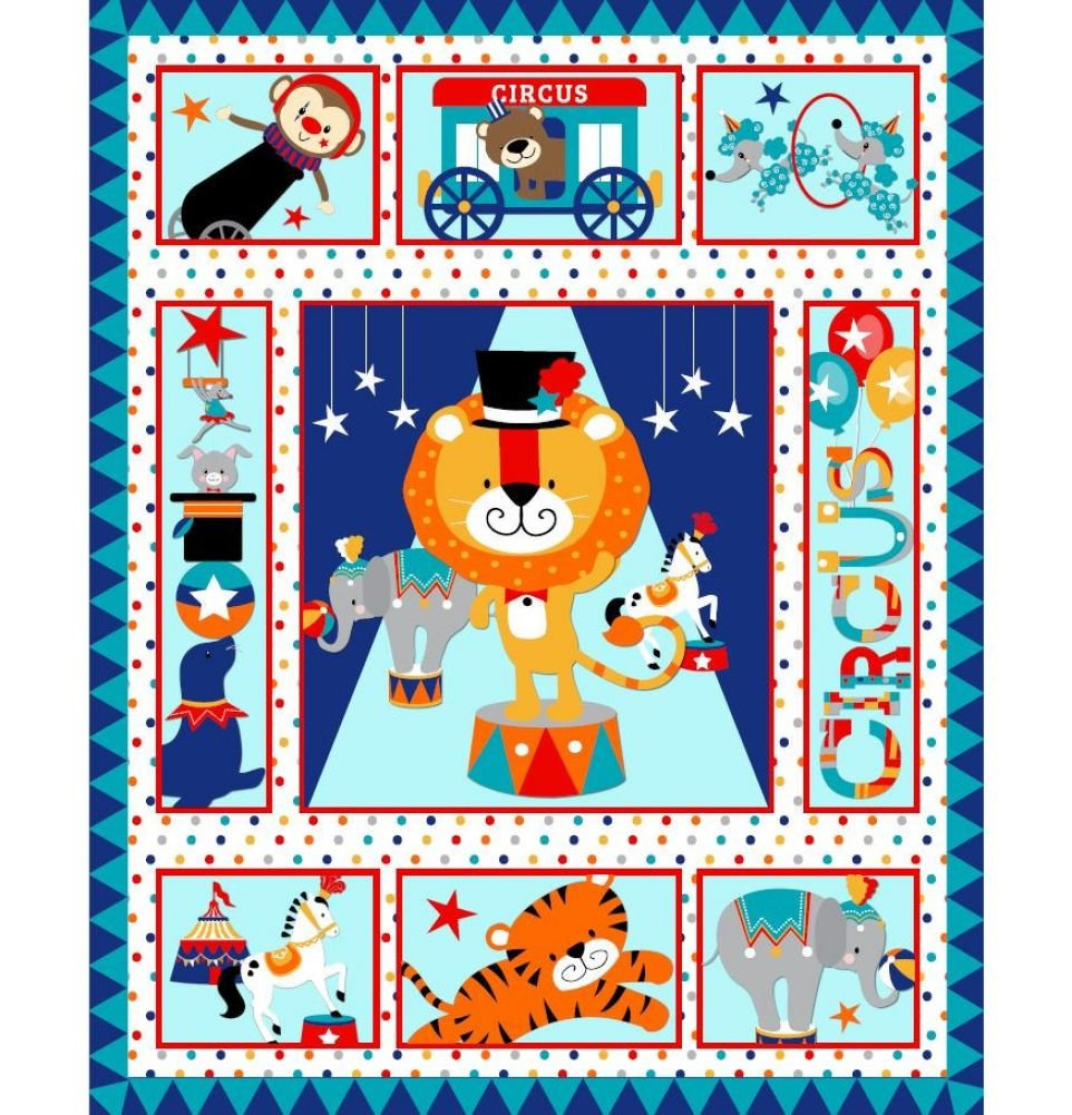Circus Pre-Quilted Baby Panel Kit - Panel Plus Binding