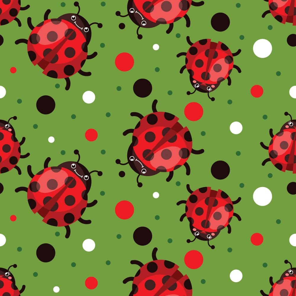 Red Ladybugs with Red, White, and Black Dots on Green:  Ladybug by MDG Digital