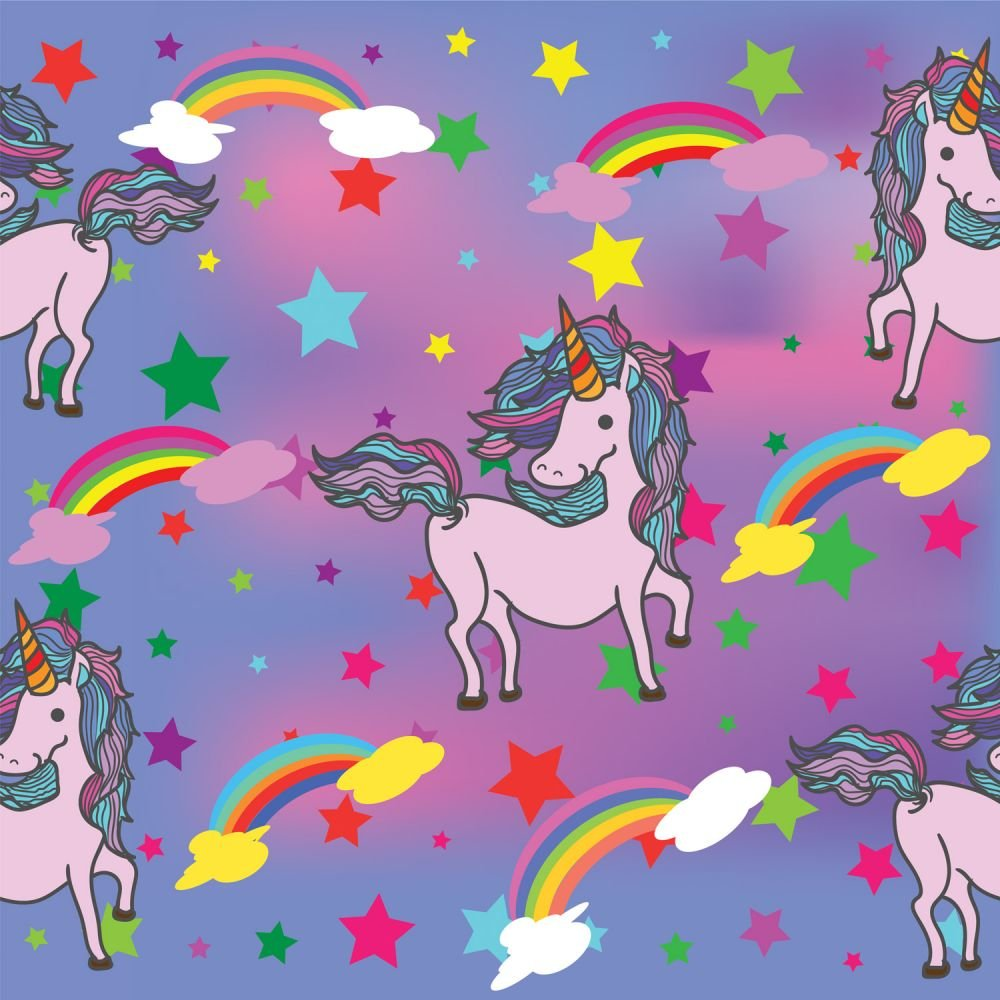 SPECIALTY FABRICS:  Unicorns, Rainbows, and Stars on Purple and Pink:  Unicorn Rainbow by MDG Digital
