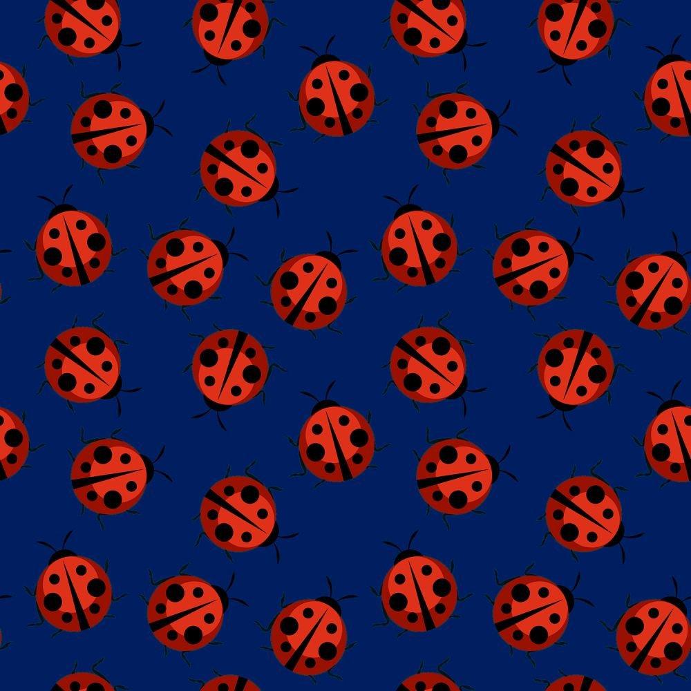 Red Ladybugs on Blue:  Ladybug Shuffle by MDG Digital