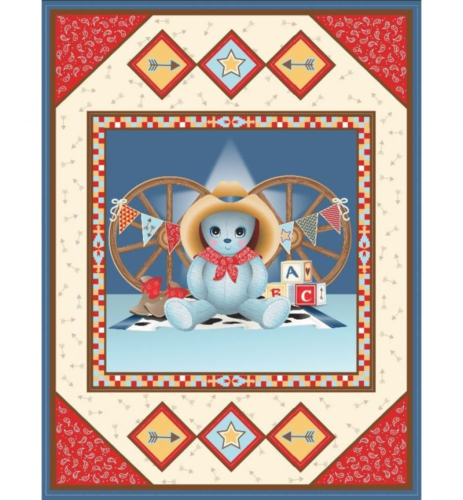 Cowboy Bear Pre-Quilted Baby Panel Kit - Panel Plus Binding