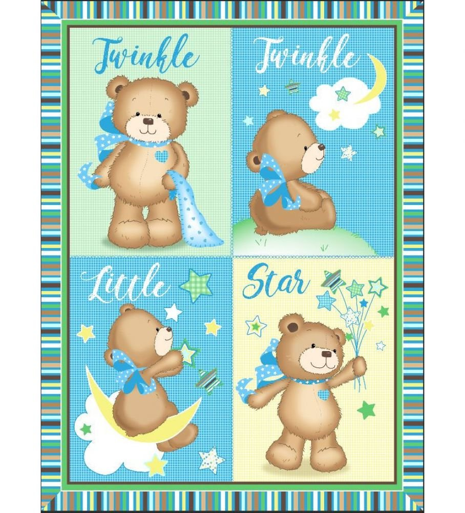 Twinkle Bear Pre-Quilted Baby Panel Kit - Panel Plus Binding
