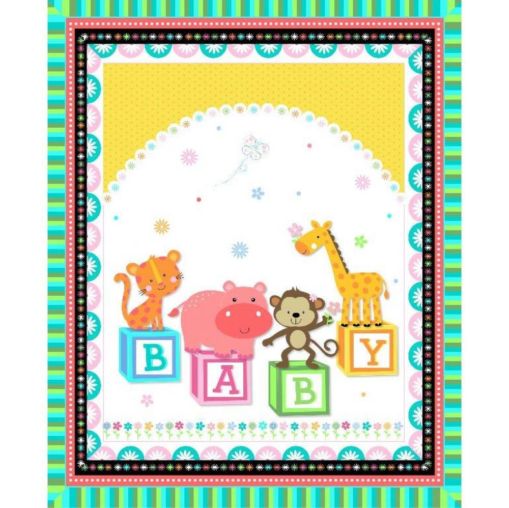 Baby Blocks Pre-Quilted Baby Panel Kit - Panel Plus Binding
