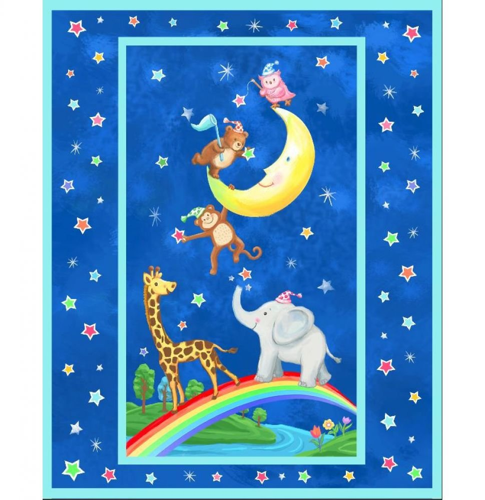 Moon Party Pre-Quilted Baby Panel Kit - Panel Plus Binding