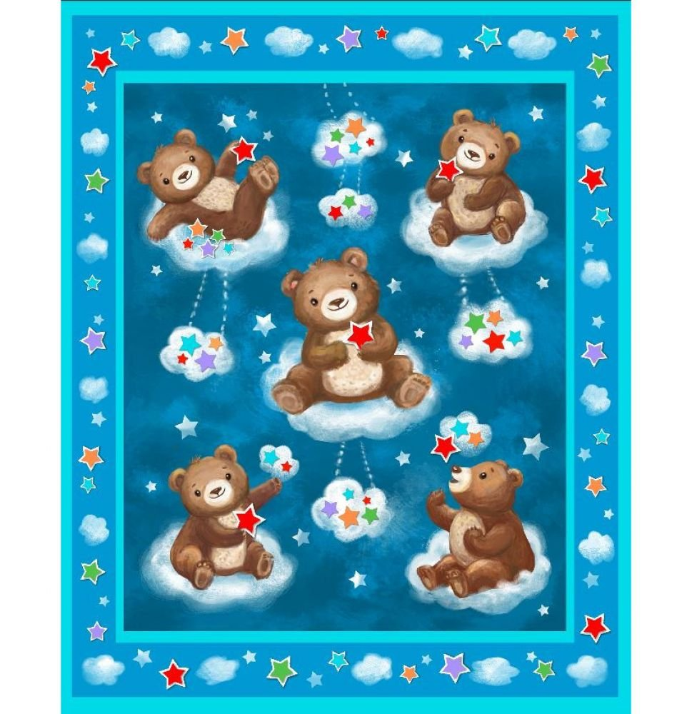 Bears on Turquoise Pre-Quilted Baby Panel Kit - Panel Plus Binding