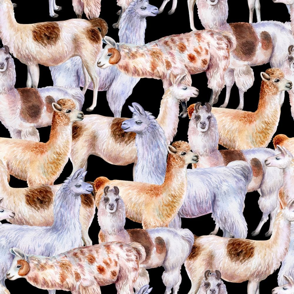 SPECIALTY FABRICS: Llamas on Black:  Llamas by MDG Digital