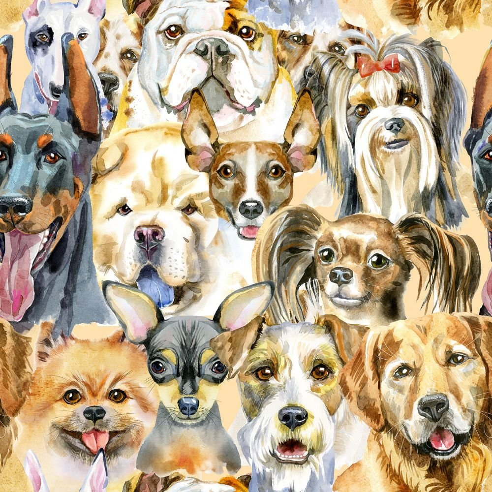SPECIALTY FABRICS: Puppy Dog Faces Allover:  Puppy Dogs by MDG Digital