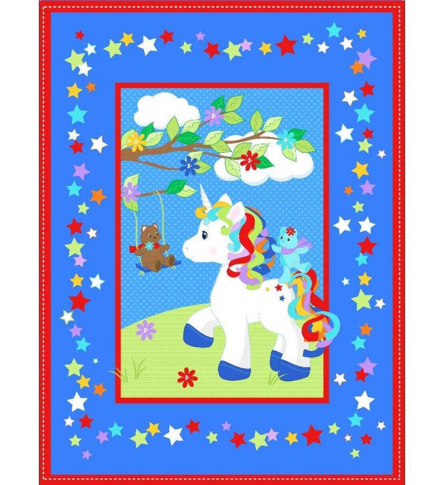 Unicorn Pre-Quilted Baby Panel Kit - Panel Plus Binding