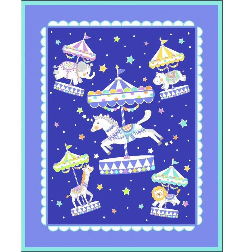 Carousel on Blue Pre-Quilted Baby Panel Kit - Panel Plus Binding
