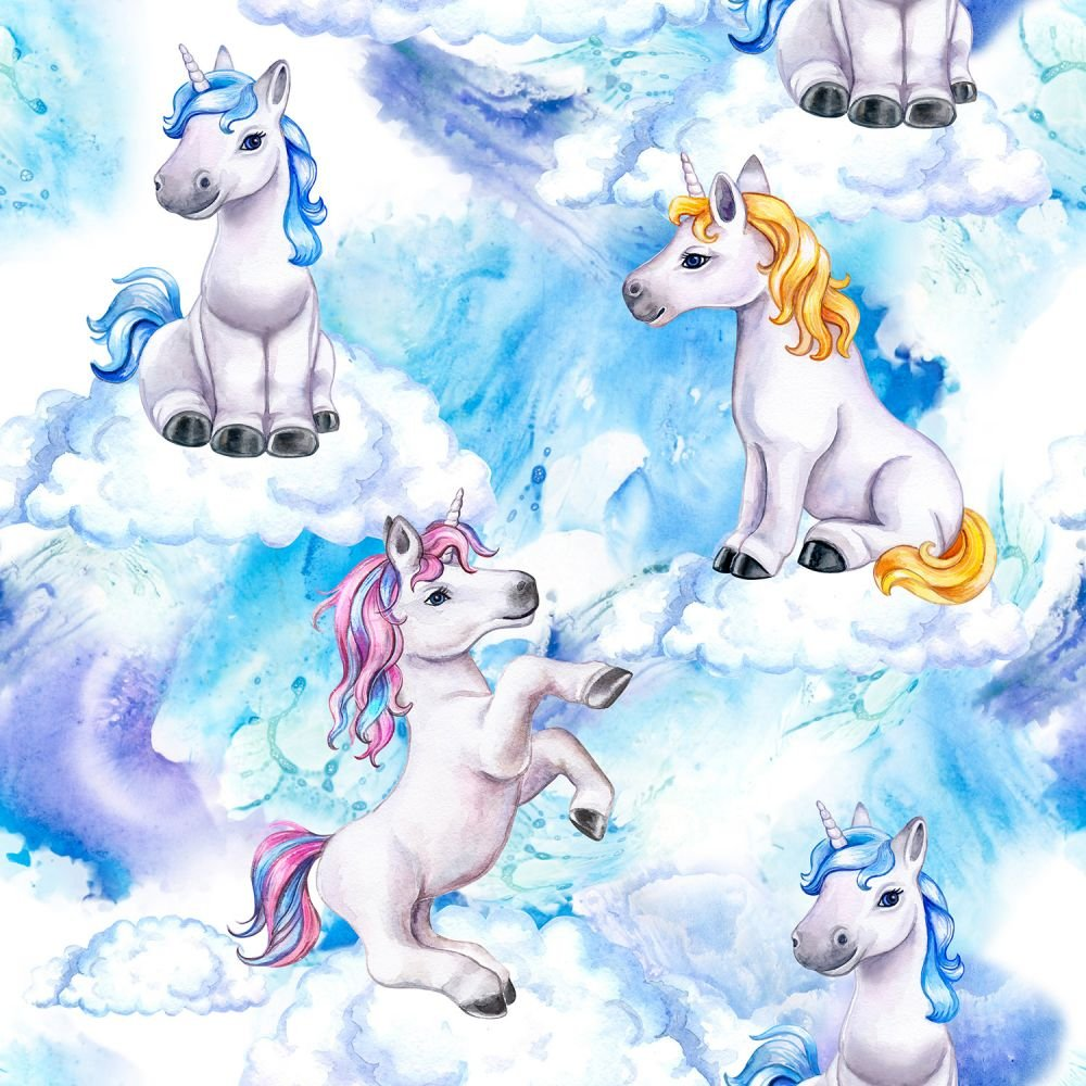 SPECIALTY FABRICS:  Unicorns on Clouds:  Unicorn Clouds by MDG Digital