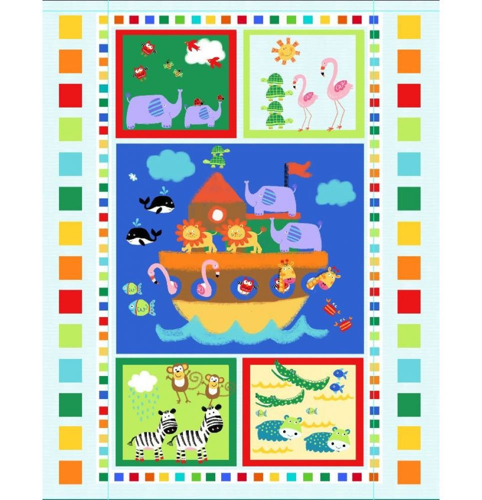 Noah's Ark with Block Border Pre-Quilted Baby Panel Kit - Panel Plus Binding