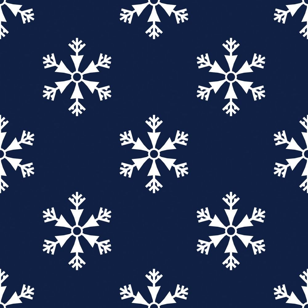 White Snowflakes on Navy:  Snowfall by MDG Classics