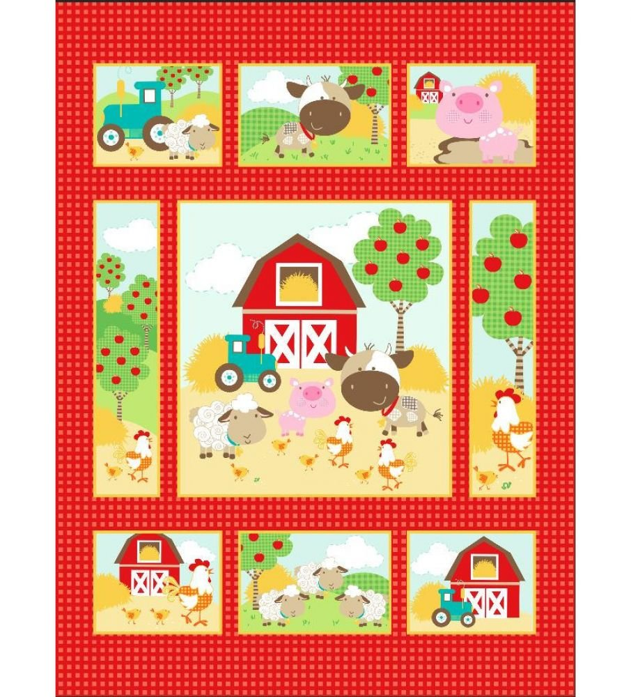 Farm on Red Pre-Quilted Baby Panel Kit - Panel Plus Binding