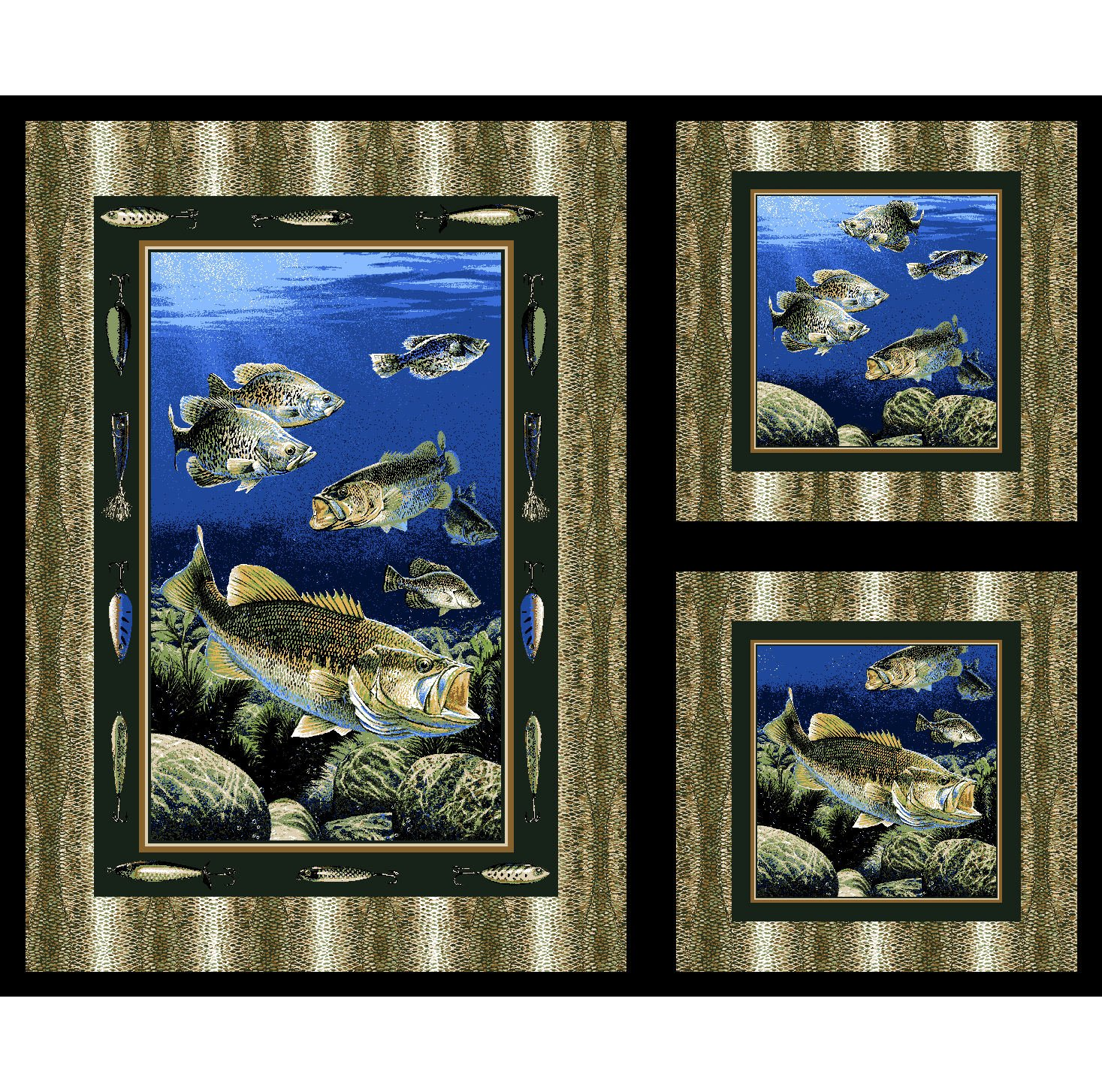 The Lure of the Bass Quilt Panel by Concord Prints for MDG