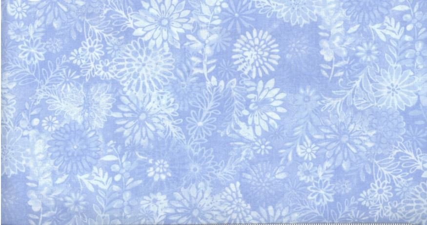 3 Yard Backing Piece: 108 Wide Light Blue Packed Floral in a single 3 yard piece