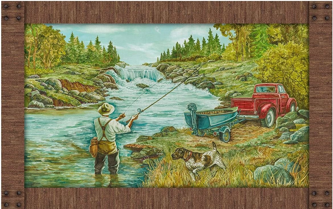 Rod and Reel Fishing Panel by Deborah Edwards of Northcott