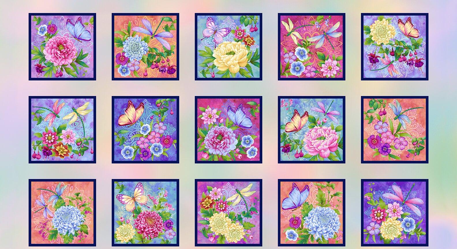 Pastel Gossamer Garden Blocks Quilt Panel by Color Principles for Henry Glass