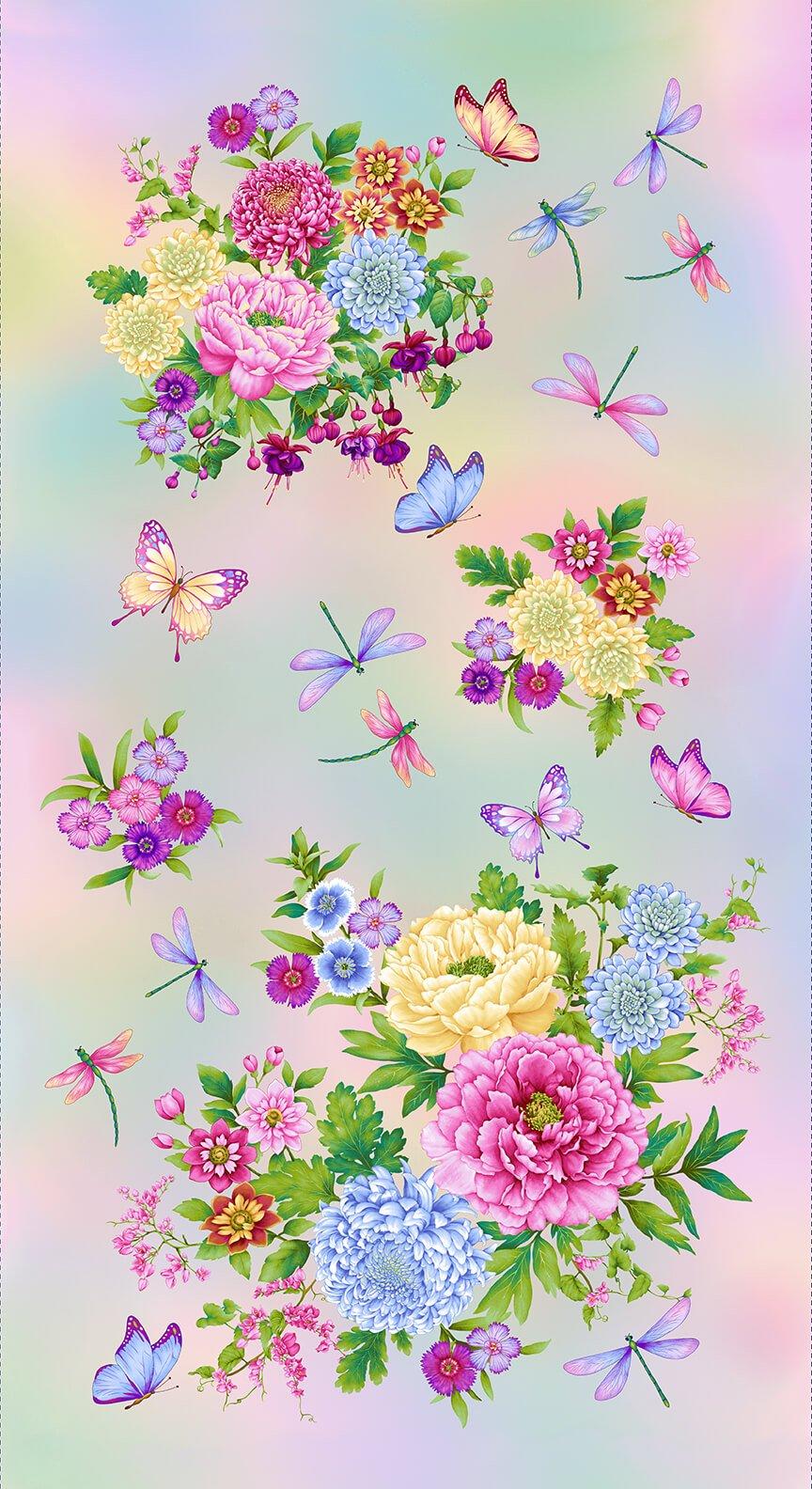 Pastel Gossamer Garden Banner Quilt Panel by Henry Glass