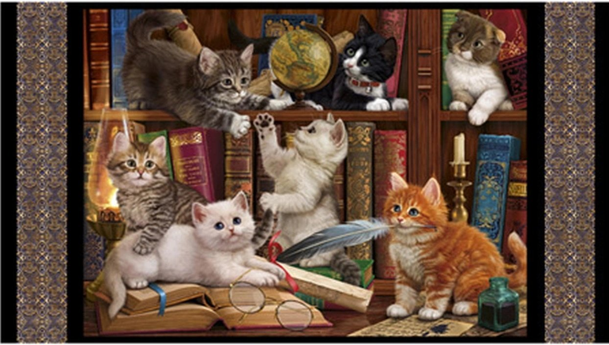 Literary Kitties Quilt Panel by Quilting Treasures - Cats, Kittens, Library
