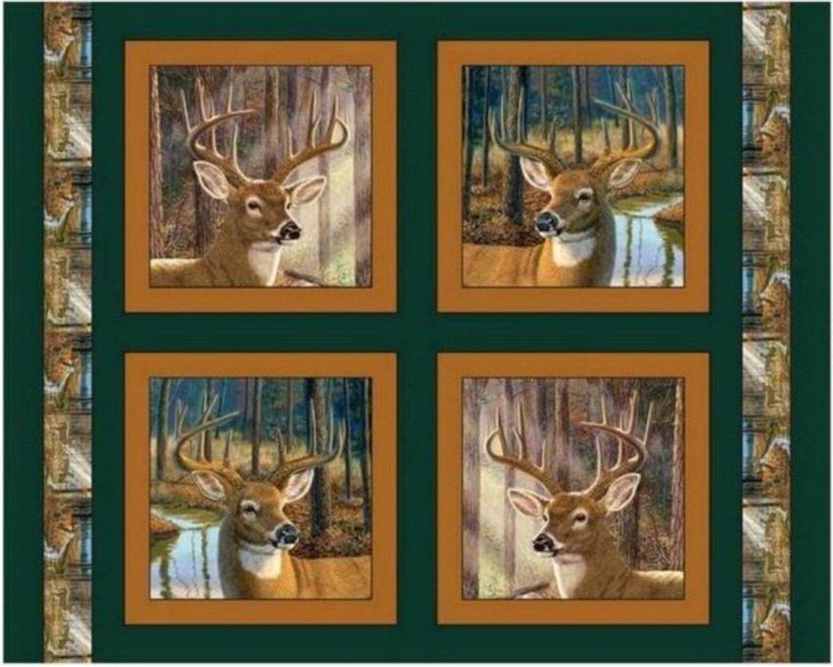 Buckaroo - 4 Deer Heads - Pillow Panels by MDG Digital