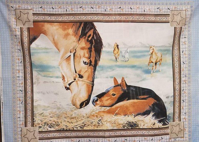 Horse Panel on Blue