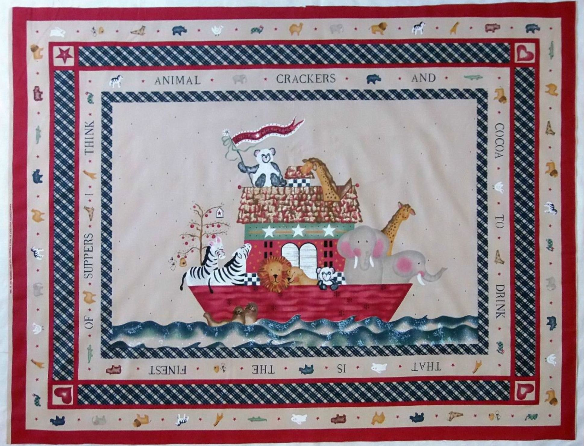 Country Noah Nursery Baby Quilt Panel