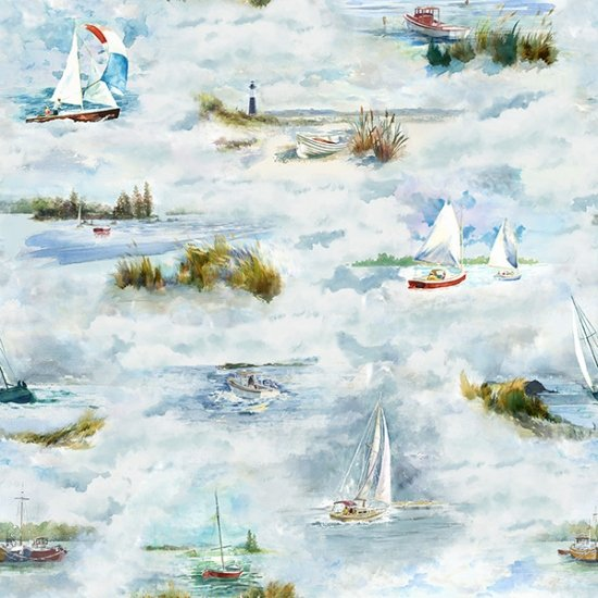 SPECIALTY FABRICS: Boats on the Water:  Shoreline Stories by Hoffman