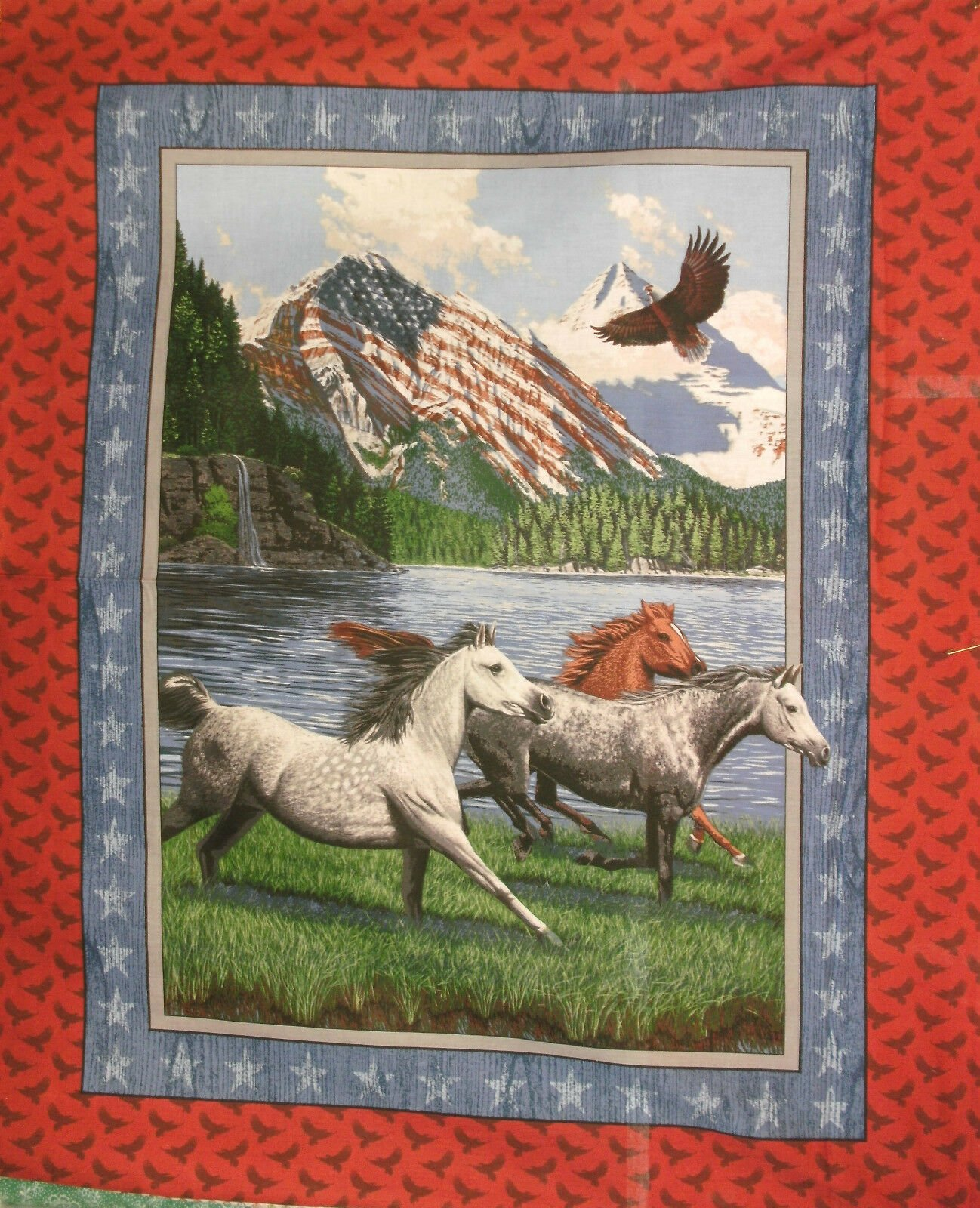 Patriot's Point Wallhanging Quilt Panel - Flag and Horses - by Concord Prints for MDG
