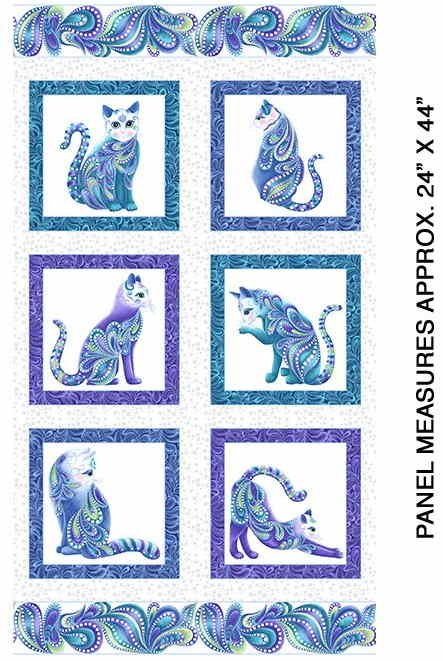 Cat-i-tude Singing the Blues  on White - Panel by Ann Lauer for Benartex