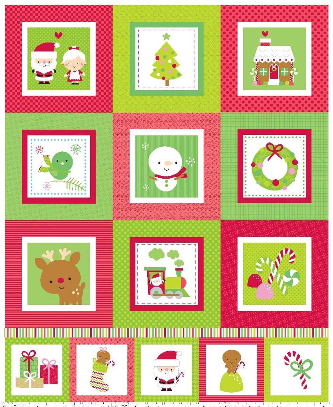 Santa Express Quilt Panel in Blocks by Riley Blake