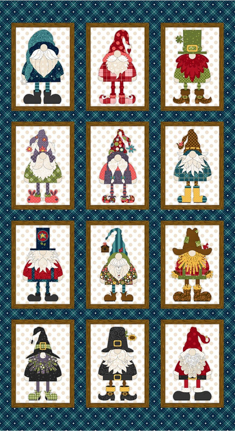 Gnome for the Holidays Quilt Panel by Kaytlyn Kuebler for Henry Glass