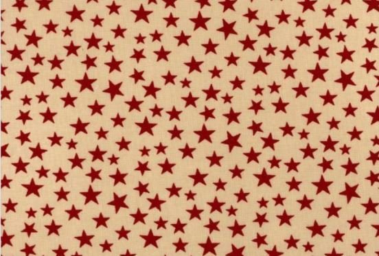 3 Yard Backing Piece: 108 Wide Red Stars on Tan in a single 3 yard piece