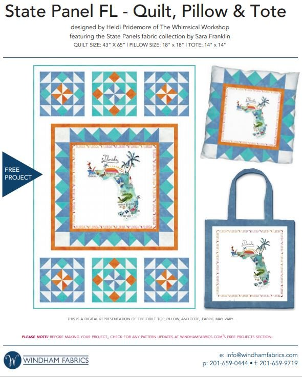 State Panel - FL - Quilt, Pillow and Tote - FREE Pattern by Windham