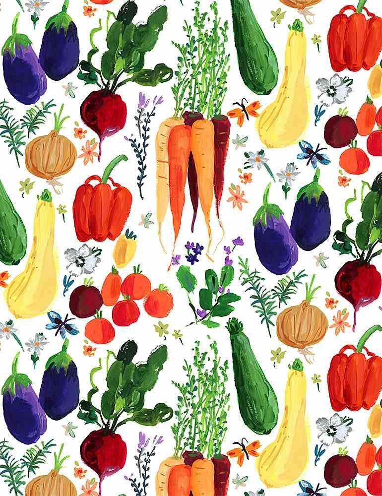Assorted Vegetables on White:  Veggie Haul - Chef's Table by Dear Stella
