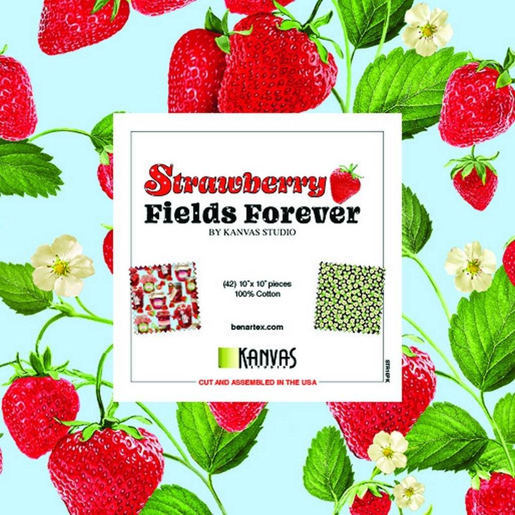Strawberry Fields Forever:  10 x 10 Squares - 42 piece Fabric Square Pack from Benartex