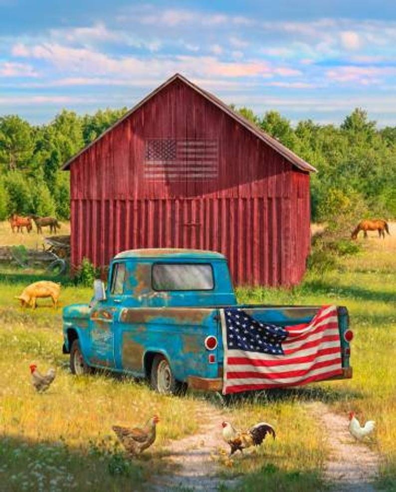 Summer Blue Truck on Farm with Flag by Four Seasons for David Textiles