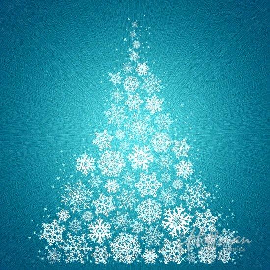 Snowflake Christmas Tree on Turquoise - Supernova Seasons - Hoffman Digital Panel