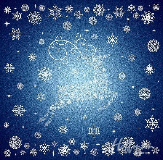 Snowflake Reindeer on Navy - Supernova Seasons - Hoffman Digital Panel
