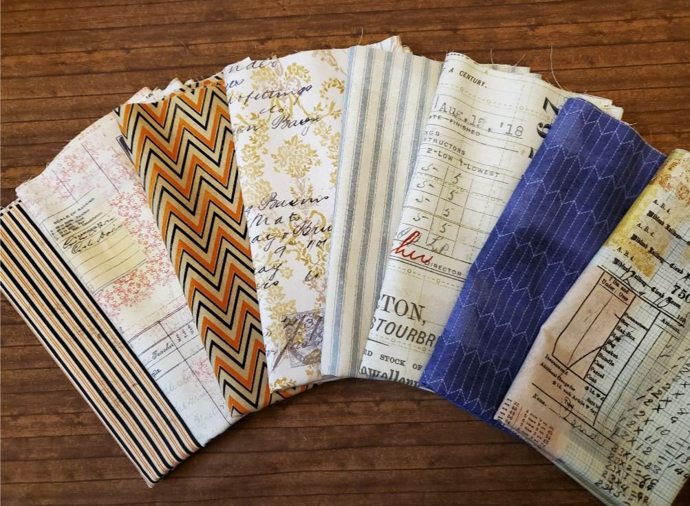 FULL YARDS: 8 Piece ECLECTIC Elements by Tim Holtz for Freespirit- 8 Piece FULL Yard Bundle Pack