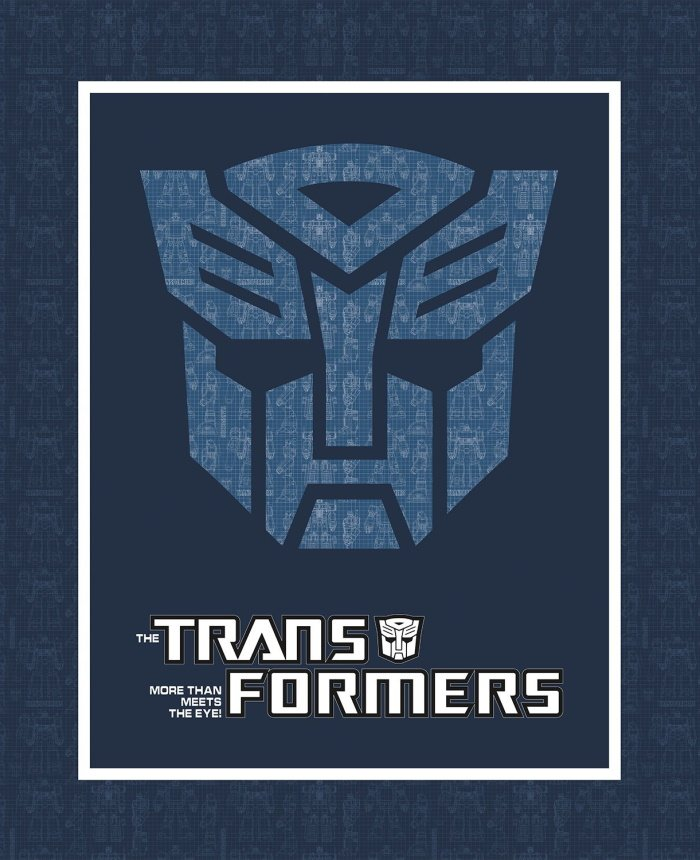 Transformers in Blue Panel by Camelot Fabrics