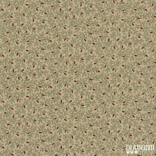 Green and Red Shirting Vine on Tan:  A Common Thread by Dawn Heese for Diamond Textiles
