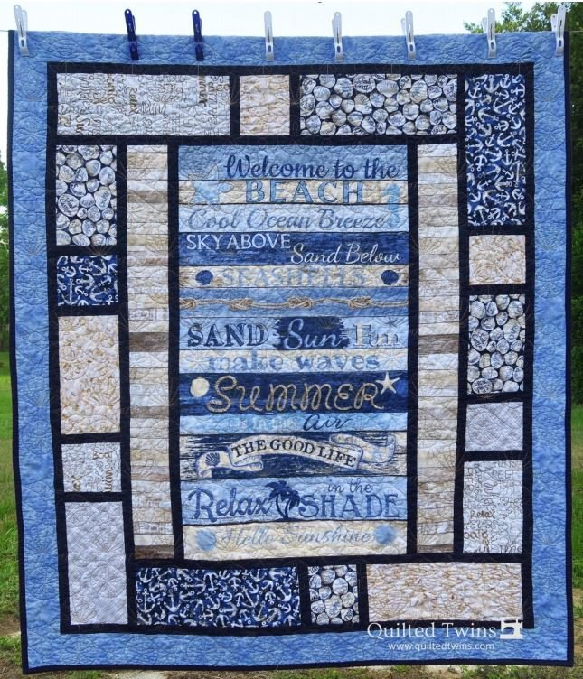 Welcome to the Beach Lap Quilt Kit - Panel, Pattern, Fabric for Top and Binding