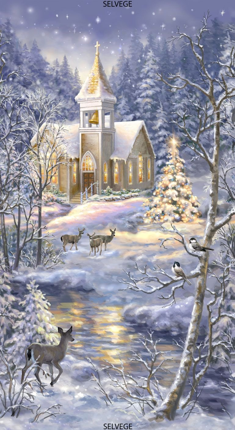 Winter Blessing Church in Snow Quilt Panel by Timeless Treasures